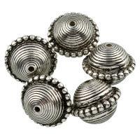 Verkupfertes Kunststoff-Perlen, Verkupferter Kunststoff, antik silberfarben plattiert, 18x22mm, Bohrung:ca. 2mm, 10PCs/Tasche, verkauft von Tasche