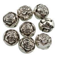 Verkupfertes Kunststoff-Perlen, Verkupferter Kunststoff, Blume, antik silberfarben plattiert, 9x10mm, Bohrung:ca. 1mm, 50PCs/Tasche, verkauft von Tasche