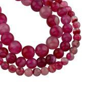 Natürliche Streifen Achat Perlen, rund, verschiedene Größen vorhanden, hochrot, Bohrung:ca. 1mm, verkauft per ca. 15 ZollInch Strang