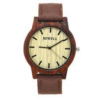 BEWELL® Uhrenkollektion, Segeltuch, mit Glas & Holz & Edelstahl, einstellbar & für den Menschen, keine, 42mm, Länge:ca. 8.5 ZollInch, verkauft von PC