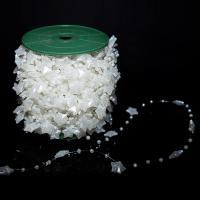 ABS-Kunststoff-Perlen Perle Seil, weiß, 15x16mm, ca. 30m/Spule, verkauft von Spule