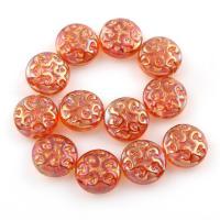 Flache runde Kristall Perlen, goldfarben plattiert, 13x6mm, Bohrung:ca. 1mm, verkauft per ca. 6.5 ZollInch Strang