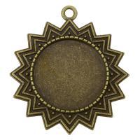 Zink-Legierung Cabochon Weissgold, Zinklegierung, Blume, antike Bronzefarbe plattiert, 42x46x2.50mm, Bohrung:ca. 3mm, Innendurchmesser:ca. 25mm, 100PCs/Tasche, verkauft von Tasche