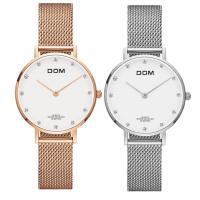 DOM® Uhrenkollektion, Edelstahl, mit Zinklegierung Zifferblatt & Glas, plattiert, für Frau & wasserdicht, keine, 32x7.5mm, 16mm, Länge:ca. 7.8 ZollInch, verkauft von PC