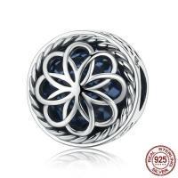 Thailand European Perlen, mit Kristall, flache Runde, ohne troll & facettierte & hohl, 11x11mm, Bohrung:ca. 4.5-5mm, verkauft von PC