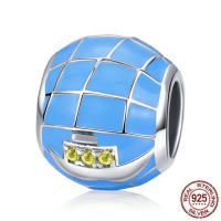 925 Sterlingsilber European Perlen, 925 Sterling Silber, Rondell, ohne troll & Emaille, 12x9mm, Bohrung:ca. 4.5-5mm, verkauft von PC