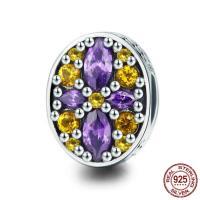 Thailand European Perlen, flachoval, ohne troll & mit kubischem Zirkonia, 10x12mm, Bohrung:ca. 4.5-5mm, verkauft von PC