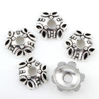Zinklegierung Perlenkappe, antik silberfarben plattiert, frei von Blei & Kadmium, 15x4mm, Bohrung:ca. 3mm, 100G/Tasche, verkauft von Tasche