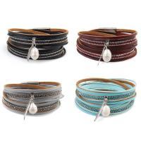 Kuhhaut Armband, mit Kunststoff Perlen & Eisen, silberfarben plattiert, für Frau & mit Strass & Multi-Strang, keine, 16mm, verkauft per ca. 15 ZollInch Strang