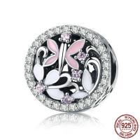Thailand European Perlen, flache Runde, ohne troll & Emaille & mit kubischem Zirkonia & hohl, 10x12mm, Bohrung:ca. 4.5-5mm, verkauft von PC