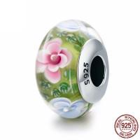 Lampwork Perlen European Stil, Rondell, mit Blumenmuster & ohne troll, 9x15mm, Bohrung:ca. 4.5-5mm, verkauft von PC
