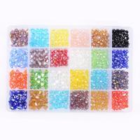 Kristall-Perlen, Kristall, mit Kunststoff Kasten, facettierte & gemischt, 6x12mm, 8mm, 6mm, 198x134x23mm, Bohrung:ca. 1mm, 840PCs/Box, verkauft von Box