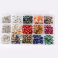 Edelstein Perle, mit Eisen Strass Zwischenstück & Kunststoff Kasten & Eisen, gemischt, 8mm, 176x102x20mm, Bohrung:ca. 1mm, 200PCs/Box, verkauft von Box