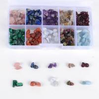 Mischedelstein Perlen, Edelstein, mit Kunststoff Kasten, gemischt, 5-15mm, 132x72x23mm, Bohrung:ca. 1mm, verkauft von Box