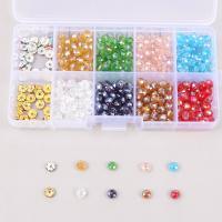 Kristall Perle, mit Eisen Strass Zwischenstück & Kunststoff Kasten, Rondell, facettierte, gemischte Farben, 6mm, 132x72x23mm, Bohrung:ca. 1mm, 70PCs/Box, verkauft von Box