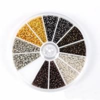 Eisen Positionierung Bead, mit Kunststoff Kasten, Rondell, gemischte Farben, 2mm, Bohrung:ca. 1mm, 240PCs/Box, verkauft von Box