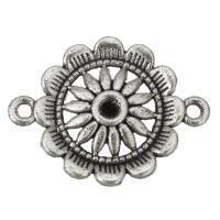 Zinklegierung Schmuckverbinder Einstellung, Blume, antik silberfarben plattiert, 1/1-Schleife, frei von Nickel, Blei & Kadmium, 28x21x3mm, Bohrung:ca. 2mm, Innendurchmesser:ca. 3mm, 200PCs/Tasche, verkauft von Tasche