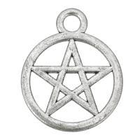Zinklegierung Stern Anhänger, Pentagram, antik silberfarben plattiert, frei von Nickel, Blei & Kadmium, 20x25x1.50mm, Bohrung:ca. 3mm, 200PCs/Tasche, verkauft von Tasche