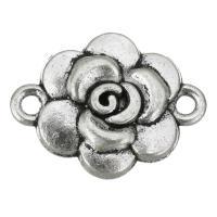 Blume Zinklegierung Schmuckverbinder, antik silberfarben plattiert, 1/1-Schleife, frei von Nickel, Blei & Kadmium, 19x15x3.50mm, Bohrung:ca. 2mm, 200PCs/Tasche, verkauft von Tasche