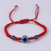 Nylonschnur Woven Ball Armband, mit Harz, blöser Blick, unisex & böser Blick- Muster & einstellbar, Länge:ca. 8 ZollInch, 10SträngeStrang/Menge, verkauft von Menge