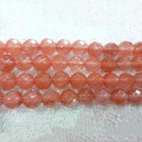 Kirsche Quarz Perle, rund, natürlich, verschiedene Größen vorhanden & facettierte, rot, verkauft per ca. 15.7 ZollInch Strang