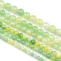 Natürliche grüne Achat Perlen, Grüner Achat, rund, verschiedene Größen vorhanden, verkauft per ca. 15.7 ZollInch Strang