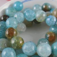 Natürliche Crackle Achat Perlen, Flachen Achat, rund, verschiedene Größen vorhanden & facettierte, blau, verkauft per ca. 15.7 ZollInch Strang