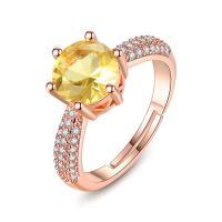 Oostenrijkse kristalring, Messing, mit Österreichischer Kristall, Rósegold-Farbe plattiert, Micro pave Zirkonia & für Frau & facettierte, frei von Nickel, Blei & Kadmium, verkauft von PC
