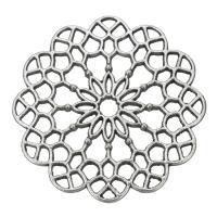 Zinklegierung Schmuck Cabochons, Blume, antik silberfarben plattiert, hohl, frei von Nickel, Blei & Kadmium, 39x2.50mm, Bohrung:ca. 3.5mm, 200PCs/Tasche, verkauft von Tasche