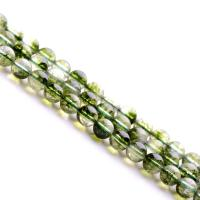 Grüner Phantomquarz Perle, rund, natürlich, verschiedene Größen vorhanden, grün, verkauft per ca. 15.7 ZollInch Strang