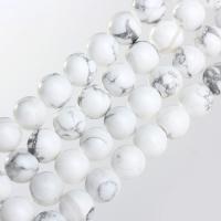 Türkis Perlen, Synthetische Türkis, rund, synthetisch, verschiedene Größen vorhanden, weiß, verkauft per ca. 15.7 ZollInch Strang