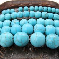 Türkis Perlen, Synthetische Türkis, rund, natürlich, verschiedene Größen vorhanden, blau, verkauft per ca. 15.7 ZollInch Strang