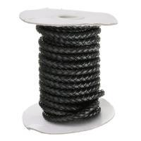Rindsleder Schnur, Kuhhaut, schwarz, 6mm, verkauft per ca. 5 m Strang