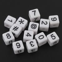 Acryl Schmuck Perlen, Quadrat, gemischtes Muster, weiß, 10x10mm, Bohrung:ca. 4mm, ca. 480PCs/Tasche, verkauft von Tasche