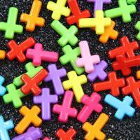 Volltonfarbe Acryl Perlen, Kreuz, gemischte Farben, 12x16x4.5mm, Bohrung:ca. 1mm, 100PCs/Tasche, verkauft von Tasche