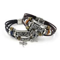 Lederband Armband, Leder, mit Zinklegierung, Libelle, plattiert, unisex, keine, 6mm, Länge:ca. 8 ZollInch, 10SträngeStrang/Menge, verkauft von Menge
