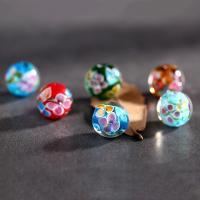 Inneren Blume-Lampwork-Beads, Lampwork, rund, handgemacht, innen Blume, gemischte Farben, 12mm, Bohrung:ca. 2mm, 5PCs/Tasche, verkauft von Tasche