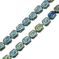 Nicht-magnetische Hämatit Perlen, Non- magnetische Hämatit, Buddha, plattiert, 8.50x7x4.50mm, Bohrung:ca. 1mm, Länge:ca. 15.5 ZollInch, 10SträngeStrang/Menge, ca. 47PCs/Strang, verkauft von Menge
