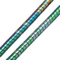 Nicht-magnetische Hämatit Perlen, Non- magnetische Hämatit, plattiert, 5x8mm, Bohrung:ca. 1.5mm, Länge:ca. 16 ZollInch, 10SträngeStrang/Menge, ca. 100PCs/PC, verkauft von Menge