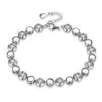 comeon® Schmuck Armband, 925 Sterling Silber, mit Verlängerungskettchen von 1.37lnch, platiniert, für Frau & mit kubischem Zirkonia, verkauft per ca. 6.3 ZollInch Strang