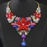 Kristall Zinklegierung Halskette, mit Eisenkette & Kristall, mit Verlängerungskettchen von 5cm, goldfarben plattiert, Twist oval & für Frau, keine, frei von Blei & Kadmium, 130x140mm, verkauft per ca. 15.5 ZollInch Strang