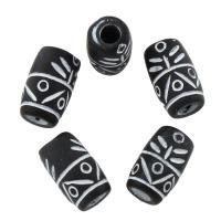 Silberdruck Acrylperlen, Acryl, Trommel, Volltonfarbe, 12.5x8mm, Bohrung:ca. 3mm, 20PCs/Tasche, verkauft von Tasche