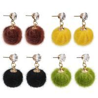 Plüsch Tropfen Ohrring, mit Zinklegierung, Edelstahl Stecker, rund, goldfarben plattiert, für Frau & mit Strass, keine, 15x26mm, verkauft von Paar