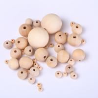 Holzperlen, Holz, rund, DIY & verschiedene Größen vorhanden, originale Farbe, Bohrung:ca. 1mm, verkauft von Tasche