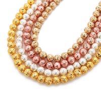 Natürliche Lava Perlen, rund, plattiert, verschiedene Größen vorhanden, keine, verkauft per ca. 15 ZollInch Strang