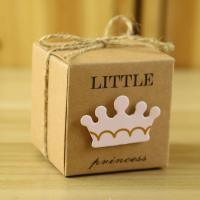Kraftpapier Hochzeit-Candy-Box, mit Hanfgarn, verschiedene Muster für Wahl, 53x53x53mm, 50PCs/Menge, verkauft von Menge