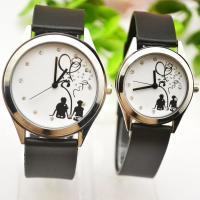 Ehepaar Uhrenarmbänder, Leder, mit Glas, goldfarben plattiert, verschiedene Größen vorhanden & verschiedene Stile für Wahl & für paar, schwarz, Länge:ca. 9.2 ZollInch, verkauft von PC