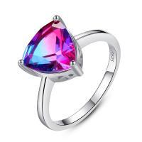 Messing Fingerring, mit Österreichischer Kristall, Dreieck, platiniert, verschiedene Größen vorhanden & für Frau & facettierte, frei von Nickel, Blei & Kadmium, 11x10mm, verkauft von PC