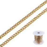 Edelstahl ovale Kette, mit Kunststoffspule, goldfarben plattiert, verschiedene Größen vorhanden & Twist oval, 25m/Spule, verkauft von Spule