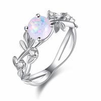 Messing Fingerring, mit Opal, platiniert, verschiedene Größen vorhanden & für Frau & mit Strass, frei von Nickel, Blei & Kadmium, 7mm, verkauft von PC